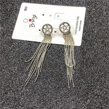 Korean Personality Wild Long Earrings Temperament Simple Exaggerated Fashion Star S925 Silver Needle