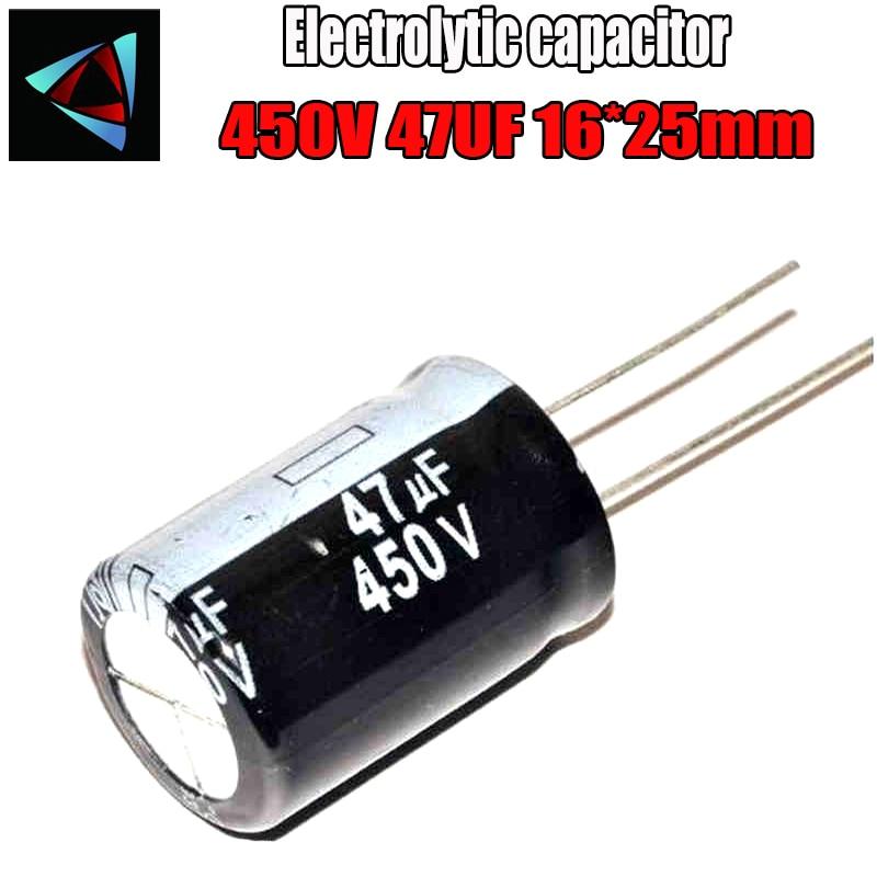 2PCS Higt Quality 450V 47UF 16-25mm 47UF 450V 16*25 Electrolytic Capacitor