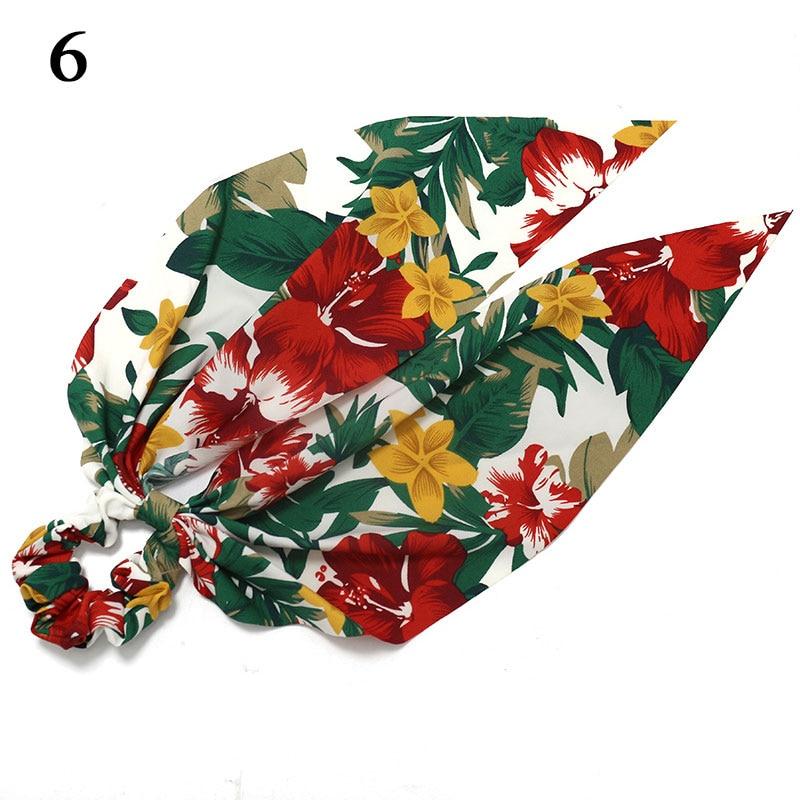 Bohème grande fleur chouchous longs banderoles arc cheveux écharpe femmes filles doux cheveux corde cravates mode cheveux accessoires chapeaux 60