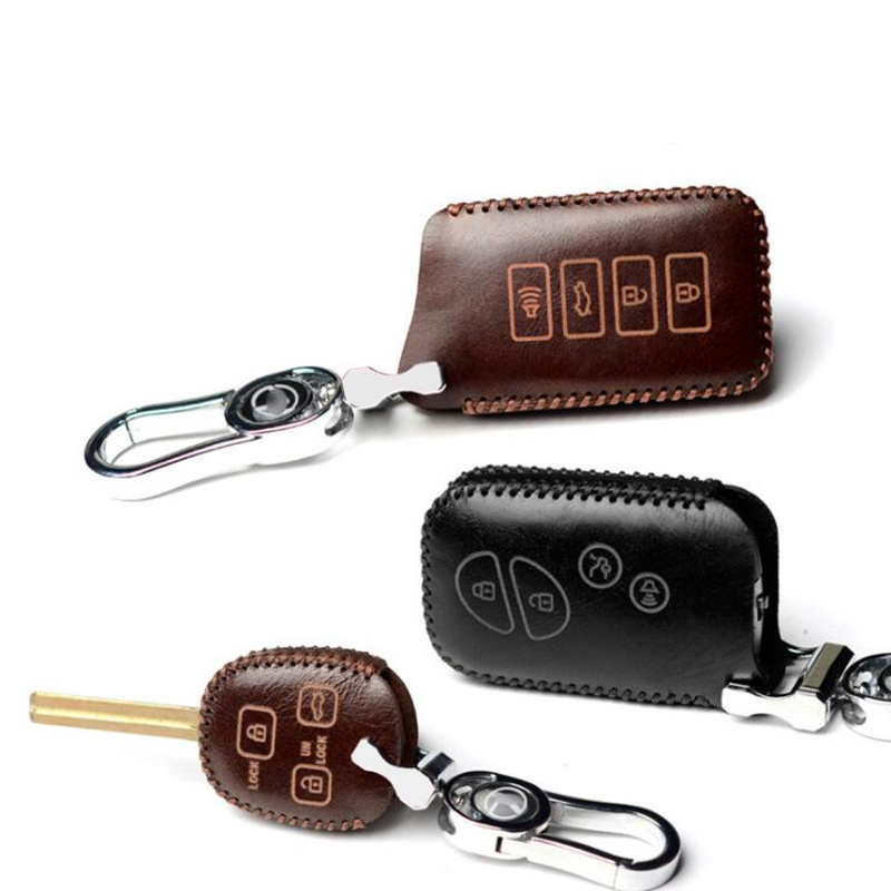 Cowhide Leather Leather <font><b>Car</b></font> Key Case <font><b>Cover</b></font> Holder for <font><b>Lexus</b></font> CT200H ES350 GX400 GS350 IS250 RC350 RX300 LX570 <font><b>NX300h</b></font> 450 Keychain image