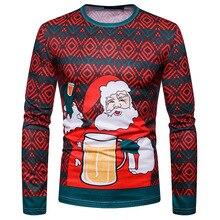2019 New Arrival Christmas Print Long Sleeve T-shirt