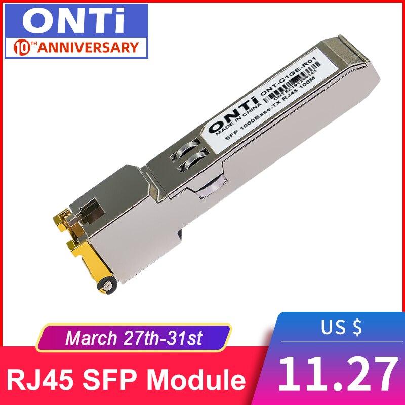 ONTi Gigabit RJ45 SFP Module 1000Mbps SFP Copper RJ45 SFP Transceiver Module Compatible For Cisco/Mikrotik Ethernet Switch