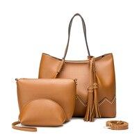 Women Handbags Pu Leather 3pcs Composite Bags Winter Women's Shoulder Messenger Bag Zipper Large Capacity Crossbody Bag LSH716