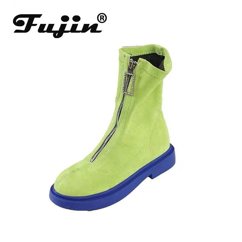Fujin Fashion Boots Autumn Women Flat-Bottom Candy-Color Flock Zip Zipper Leisure Breathable