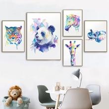 цена Baby Nursery Wall Art Poster Watercolor Zebra Giraff Canvas Wall Art Print Animal Painting Picture Nordic Kid Bedroom Decoration онлайн в 2017 году