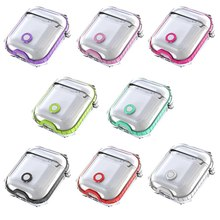 Double Color Clear Transparent Soft TPR Earphone Box Case Cover Shockproof Protection Cover for AirPods Case Accessories(China)