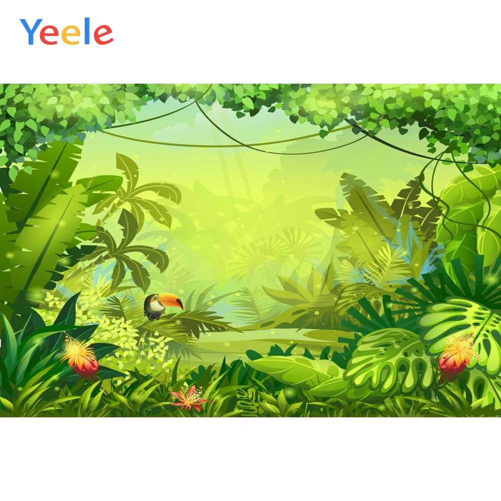 Yeele Tropical Plants Leaves Grass Jungle Party Baby Photography Backgrounds Customized Photographic Backdrops for Photo Studio
