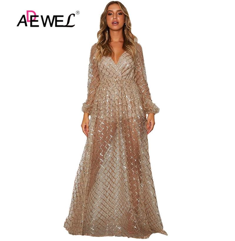 ADEWEL abricot scintillant motif à carreaux robe transparente longueur au sol col en v Sexy dentelle robe à paillettes Transparent fête Clubwear