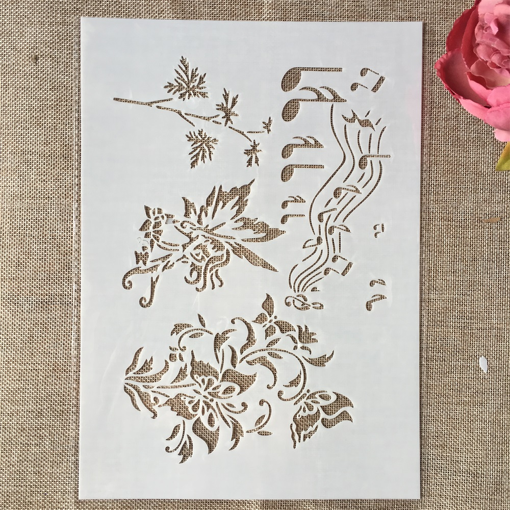 29cm A4 Music Notes Butterfly DIY Layering Stencils Wall Painting Scrapbook Coloring Embossing Album Decorative Template