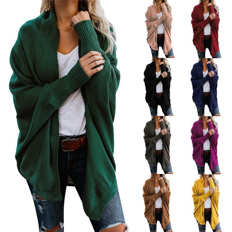 Automne hiver Cardigans pour femmes manches chauve-souris chandails Longue Femme manteau grande taille chandails tricotés Gilet Femme Manche Longue