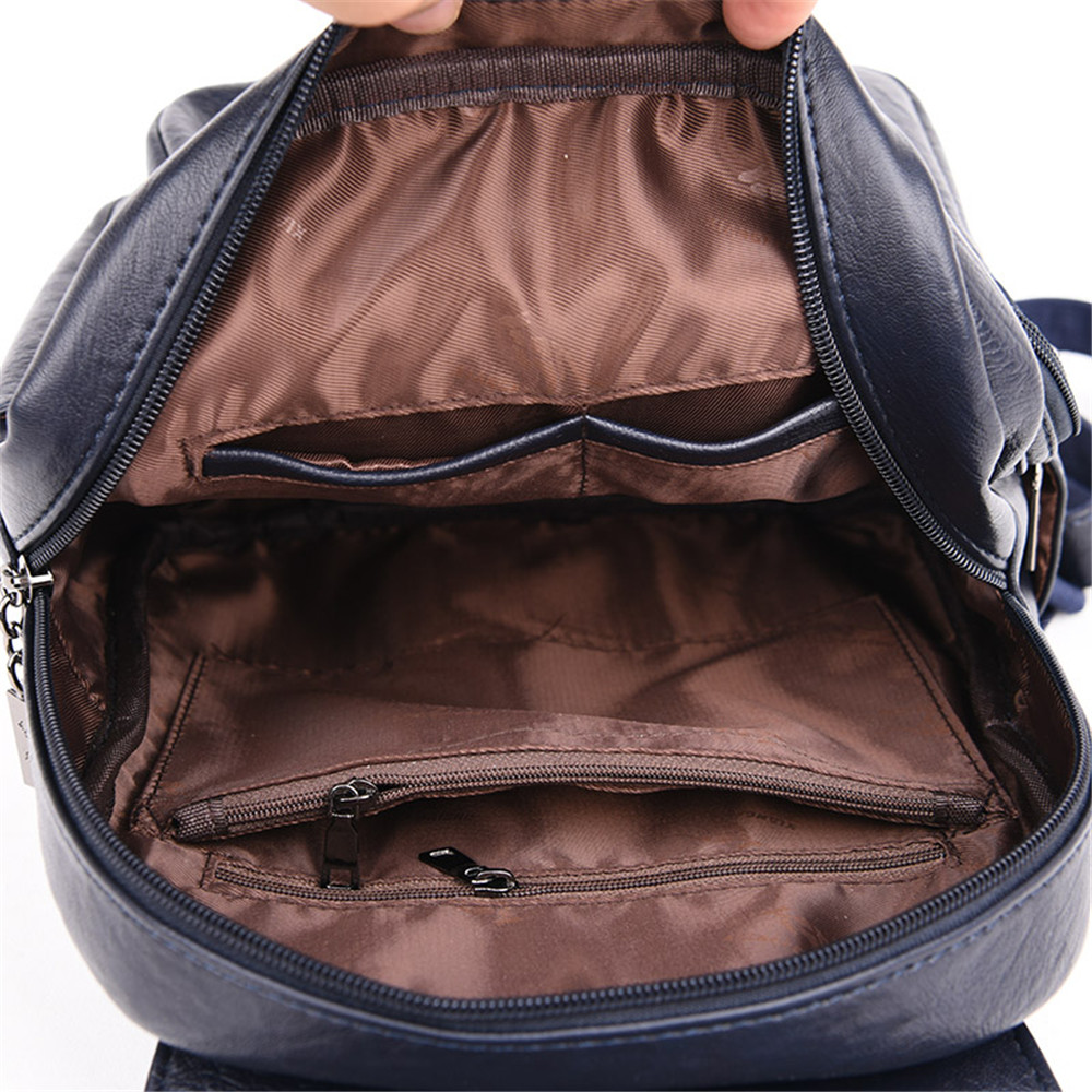 Image 5 - Women Soft Leather Backpacks Vintage Female Shoulder Bags Sac a 