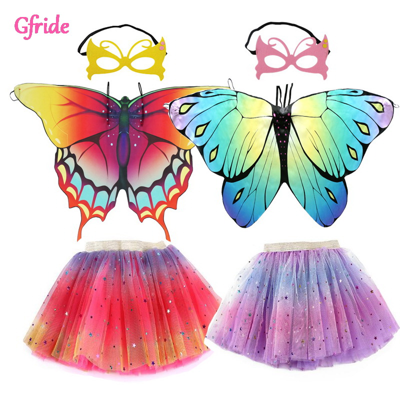 Girls Butterfly cloak wing mask Tutu Skrits For Kids Children Tutu Dress Up Halloween Christmas Fancy Party Coat 3 8T multicolor|Girls Costumes| - AliExpress