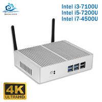 Moins cher Intel Core i5 7200U i3 7100U sans ventilateur Mini PC Windows 10 Barebone ordinateur PC DDR3 2.40GHz 4K HTPC WiFi HDMI VGA USB