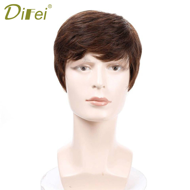 DIFEI High Temperature Fiber Synthetic Wig Men's Short Straight Hair With Bangs Brown Wigs