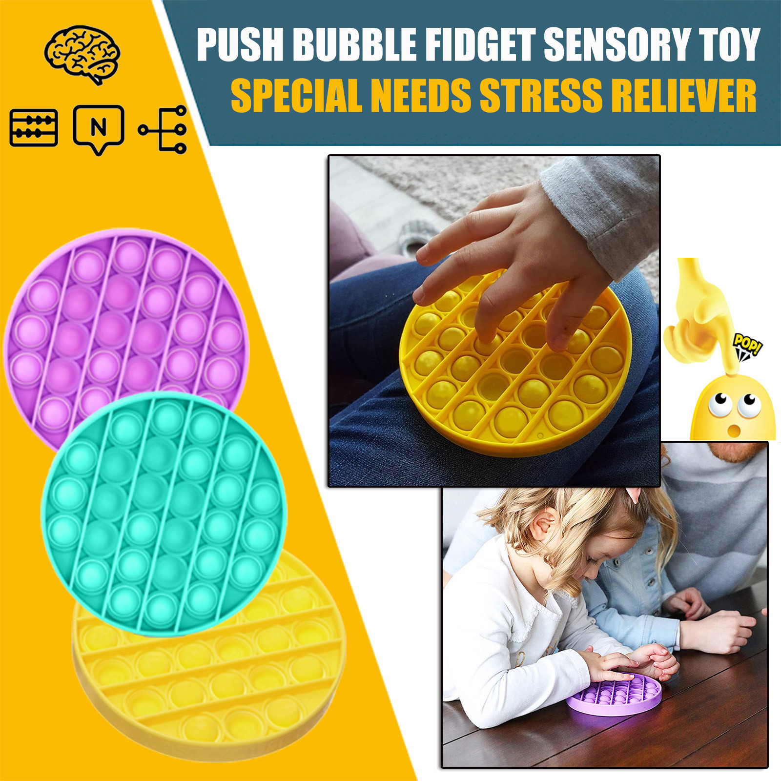 Fidget Toy Autism-Stress Funny Gift Bubble-Sensory Relief-Reliever Push-Pop Silent Classroom