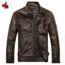 Chaqueta de motociclista de cuero de PU, Chaqueta Retro Vintage para hombre, ropa de Moto para hombre, abrigos finos de invierno a prueba de viento, Chaqueta de cuero de imitación