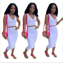 2019 new women summer solid tank top bodycon midi skirts suit two piece set club party women's tracksuit outfit dress 2019 hot fashion womens summer casual sleeveless strappy tank dress loose slim party club midi bodycon new
