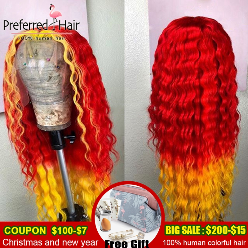 Preferred Preplucked Deep Wave Lace Front Wig Brazilian Remy Red To Yellow Highlight Wig Human Hair Ombre Wigs For Black Women