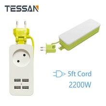 Eu旅行電源タップソケットと1 acコンセント4 usbポート1.5mコード延長110に220プラグアダプタ過負荷保護
