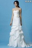 Free shipping fashion 2016 bridal dress brides white long dress plus size sweetheart elegant fish tail wedding dresses trim