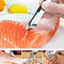 1 pc aço inoxidável pinças de osso de peixe pinça clipe extrator removedor pinças de osso de peixe garra gadgets cozinha ferramentas de frutos do mar