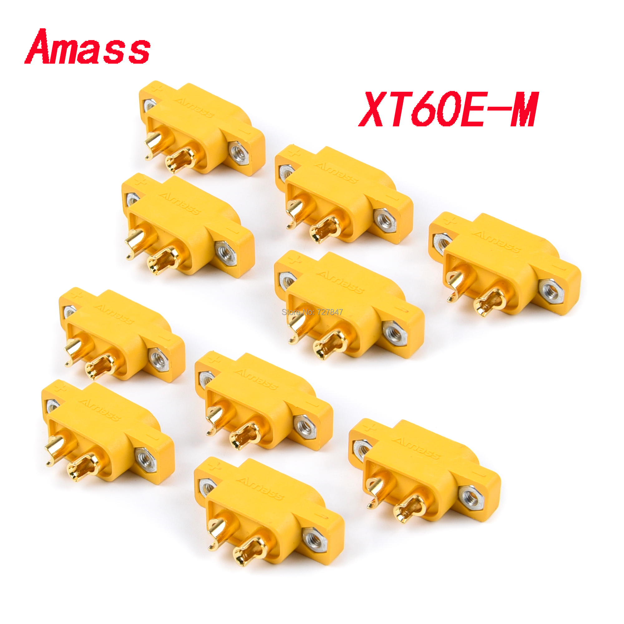 5/10PCS AMASS XT60E-M Mountable XT60 Male Plug Connector For RC Drone FPV Racing Fixed Board DIY Spare Part 4.23g