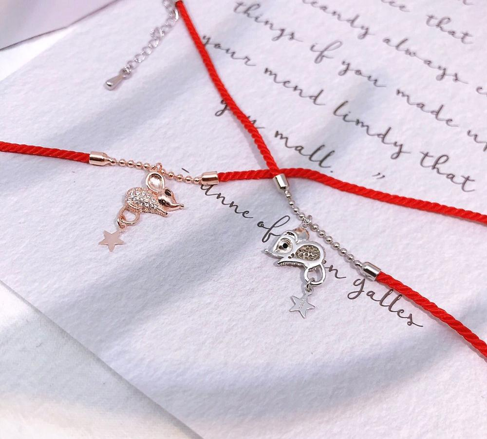 Купить с кэшбэком 2020 Year of The Rat The New 925 Sterling Silver Buckthorn Red Rope Bracelet Ins Cute Niche Little Mouse Embrace Shine Zirconia