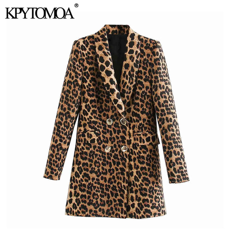KPYTOMOA Women 2020 Vintage Fashion Double Breasted Leopard Blazer Coat Long Sleeve Animal Pattern Female Outerwear Chic Tops