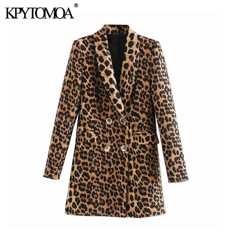 KPYTOMOA Women 2020 Vintage Fashion Double Breasted Leopard Blazer Coat Long Sleeve Animal Pattern Female Outerwear Chic Tops
