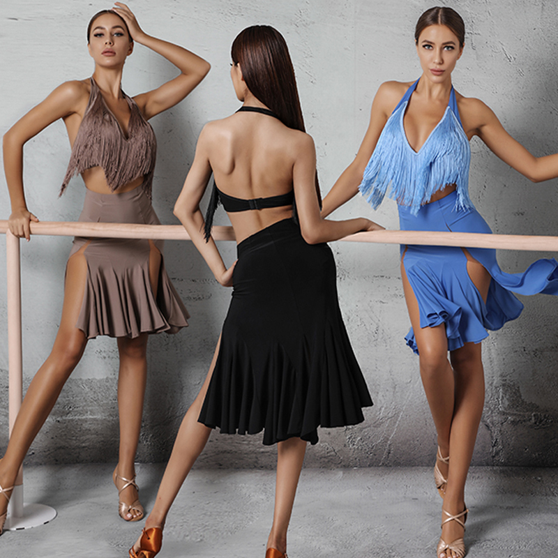 2020 Sexy Latin Dance Costumes Fringed Halter Top Fishtail Skirt Latin Dance Skirts Cha Cha Rumba Latin Performance Wear SL2905