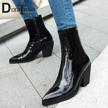 DORATASIA Brand New Plus Size 31-46 Patent Pu Leather Pointed Toe Chunky Heels Shoes Woman Casual Party Ol Ankle Boots Women