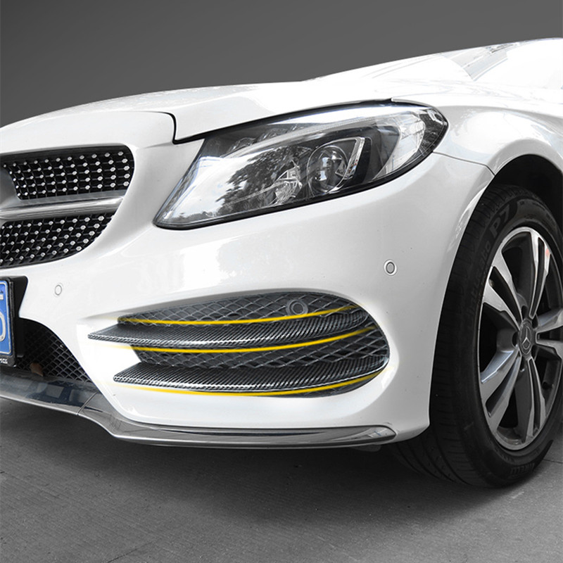Car Styling Head Fog Lamp Grille Slats For Mercedes Benz C Class W205 Carbon Fiber Color Front Bumper Stickers Accessories