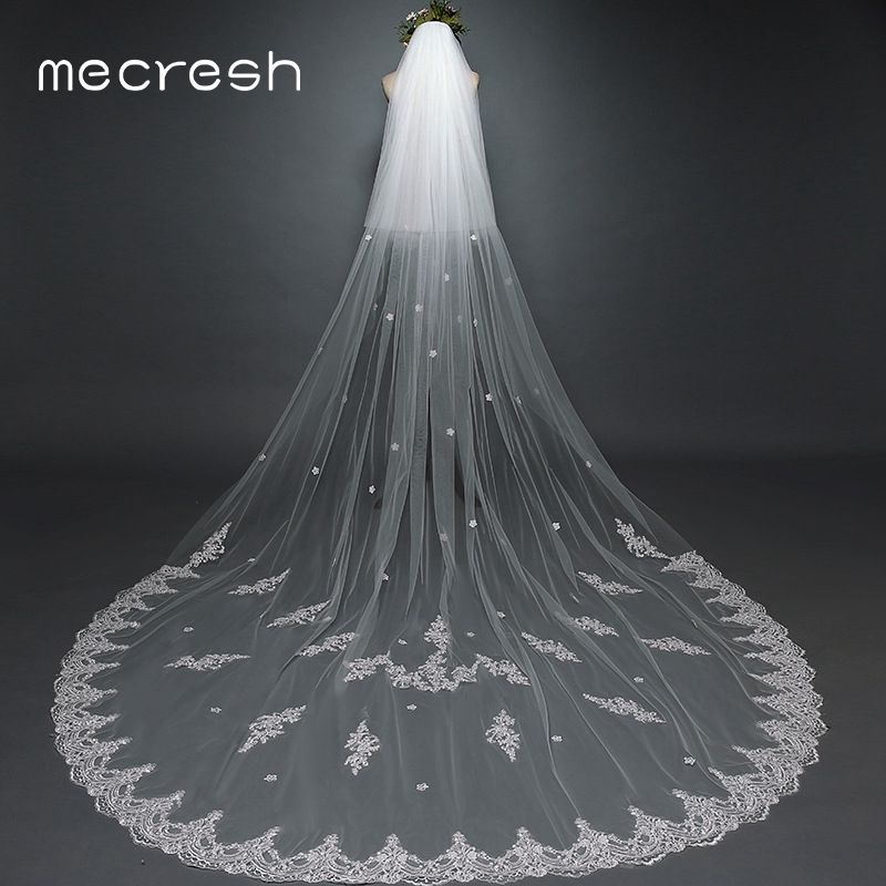 Mecresh 3 Meters One Layer Long Cathedral Wedding Veil With Comb White Beige Lace Flower Appliqued Bridal Blusher Veils VTS019