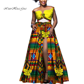 Fashion Slash Neck Sexy Long Dress with Lace Elegant Wedding Party Dresses Plus Size African Clothing African Women Dress WY3539
