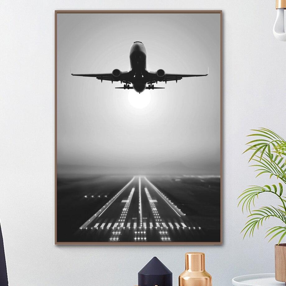 Lona nórdico fotos decoração de casa avião tirar pinturas arte da parede hd impressões criativas do hotel poster modular para sala estar