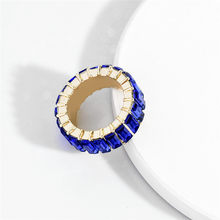 Blue Crystal Rhinestone Ring Statement Rings Cubic Zirconia Personalized Wedding Jewelry Party for Women graceful rhinestone faux crystal ring for women