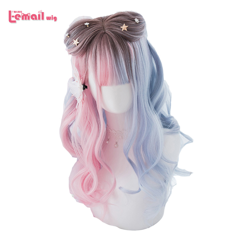L-email Wig Blue Pink Lolita Wigs Gradient Long Wave Cosplay Wigs Bobo Kawaii Halloween Wig Heat Resistant Synthetic Hair