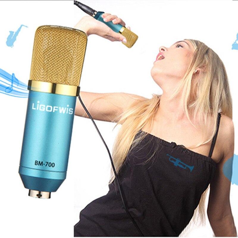 BM700 Condenser Microphone Pro Audio Studio Vocal Recording Mic KTV Karaoke With Shock Mount Microfone Condensador 3.5mm