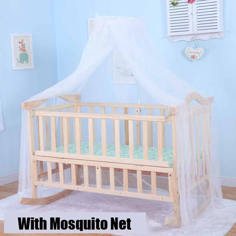 1.2M Auto Rocking Baby Cradle, Baby Swing Pine Cribs, No Paint Safety Natural Color Baby Bed With Mosquito Net