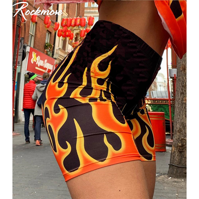 Rockmore Fire Flame Print Streetwear Shorts Women Bodycon Biker Cycling Shorts Harajuku Skinny Mini Short Pants Sweat Pants Fall