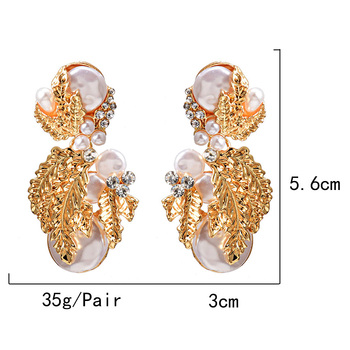 Pearl Flower-Shaped Crystal Studded Gold Earrings 6