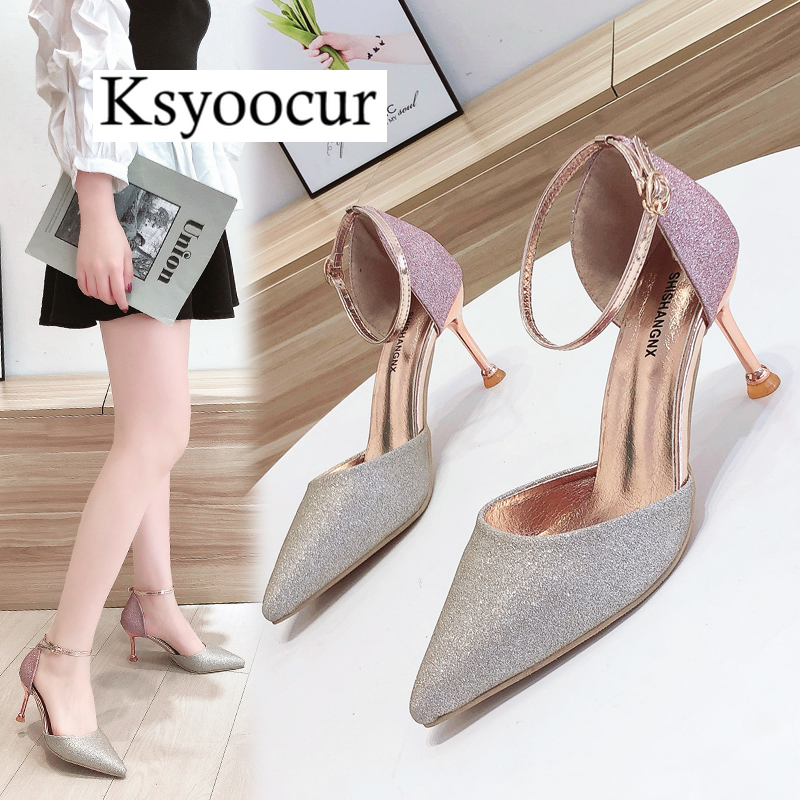 Ksyoocur 2020 New Ladies Women's Shoes Summer Sandals Sexy Peep Toe High Heels Sandals Party Wedding Shoes  Comfortable Slip X15