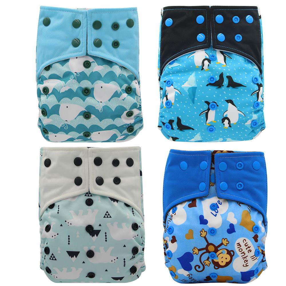 Ohbabyka 4pcs/set Washable Eco-Friendly Bamboo Charocla Cloth Diaper Adjustable Nappy Reusable AI2 Double Gusset Cloth Diapers