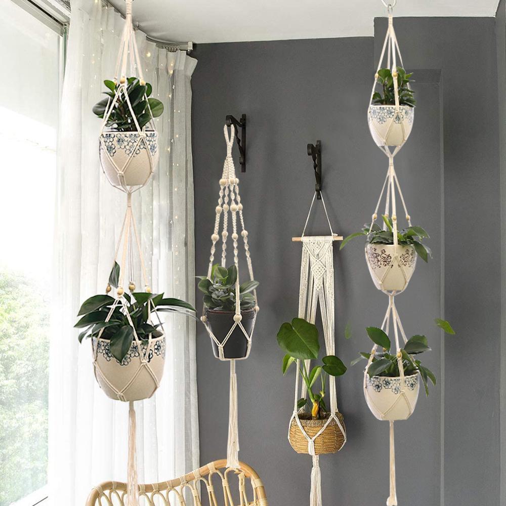Подвесной ящик для комнатных растений, горшок для растений, держатель для растений Подвеска для растений из макраме настенный держатель дл...