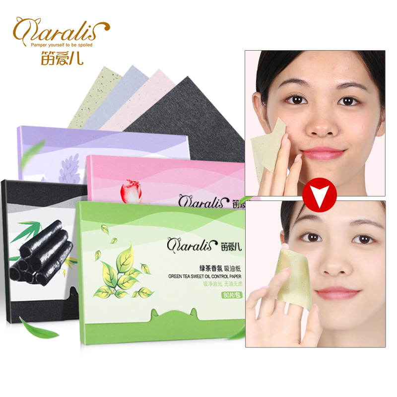 Daralis 4Pack=320pcs Facial Absorbent Paper Oil Control Sheets Matting Tissues Blotting Green Tea Papers For Face Skin Care