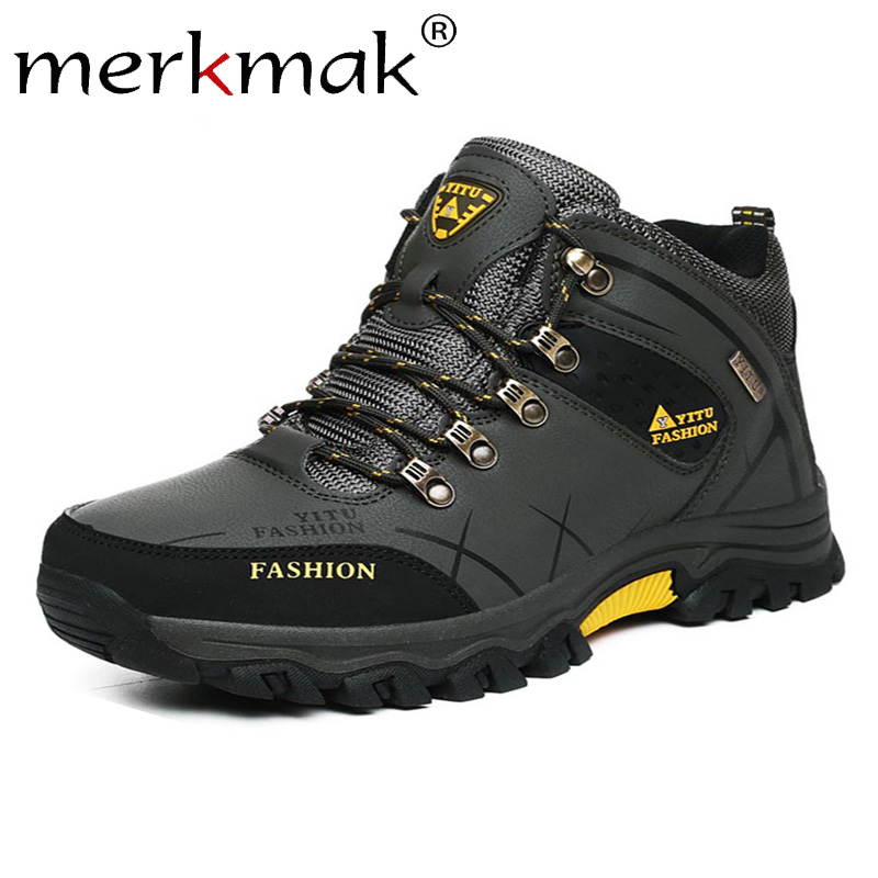 Merkmak Men Winter Snow Boots Warm Super Man High Quality Waterproof Leather Sneakers Outdoor Male Hiking Boots Work Shoes 39-47