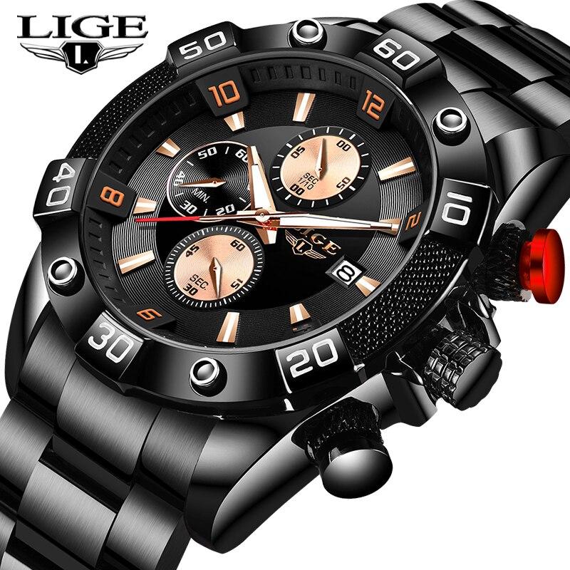 New LIGE Fashion Mens Watches With Stainless Steel Top Brand Luxury Sports Chronograph Quartz Wrist Watch Men Relogio Masculino