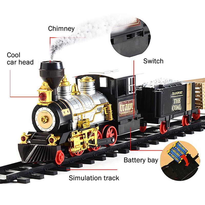 Conjunto de juguete tren simulación Retro vapor fumar música eléctrica luces vía de tren de juguete niños y niñas regalos de Año Nuevo - 3