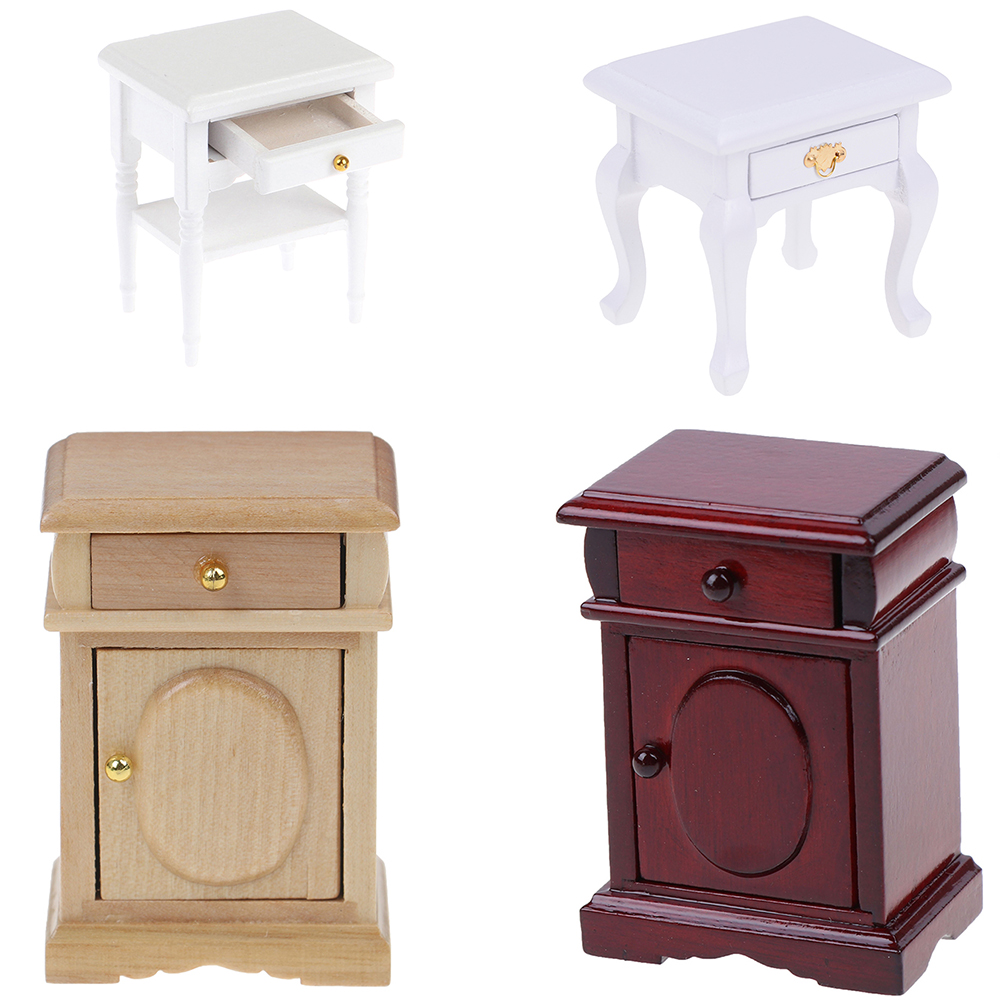 Four Styles Doll House Bedside Cupboard Dolls Mini Furniture Modern Night Table 1:12 Scale Dollhouse Wooden Miniature