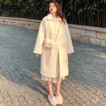 Nerazzurri – manteau long en fausse fourrure pour femme, manches longues, épaules tombantes, fourrure légère, grande taille, mode hiver